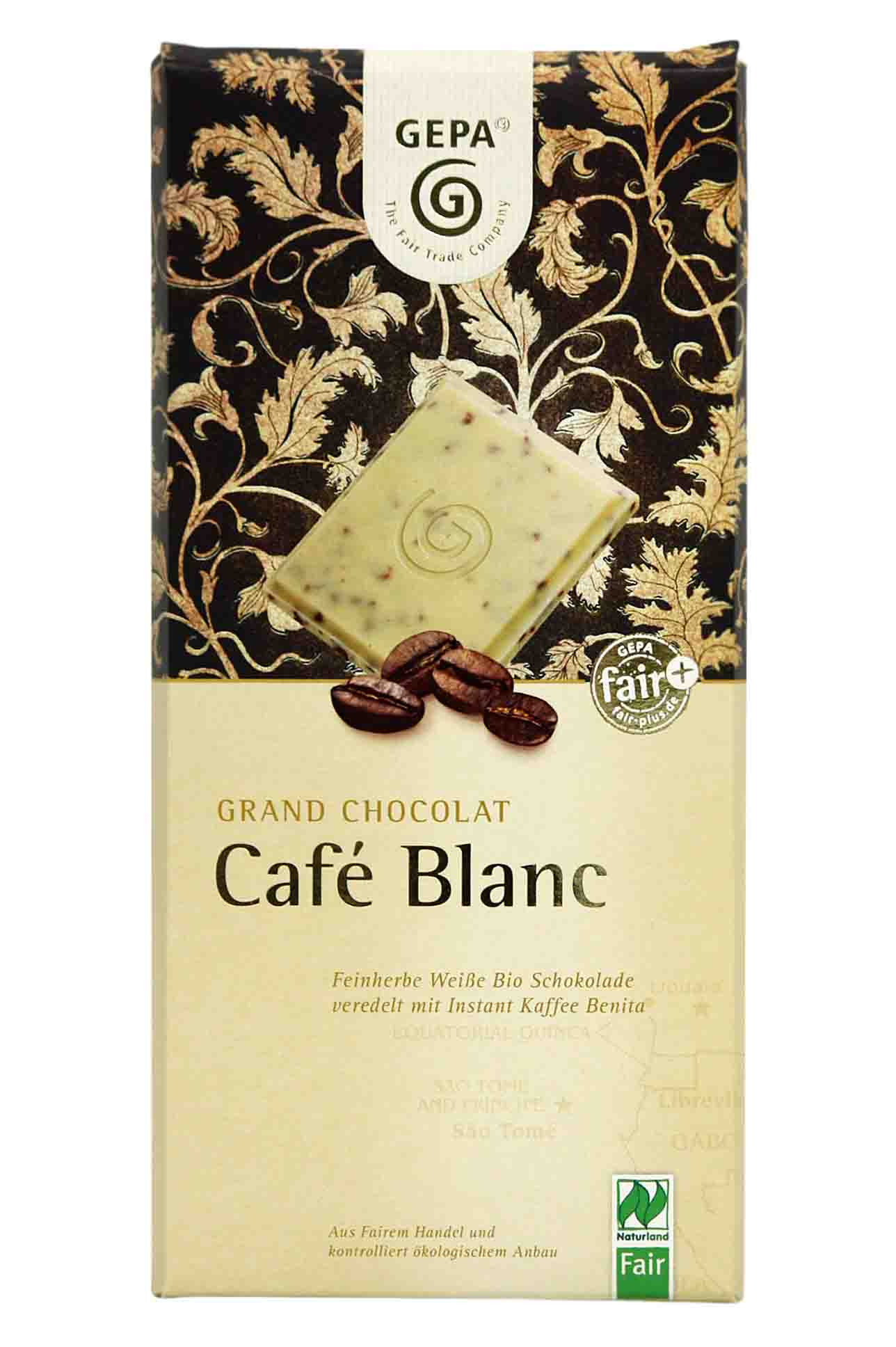 Chocolate blanco con café